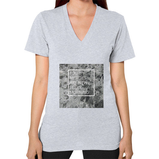 V-Neck (on woman) Heather grey Audrey Assad Store