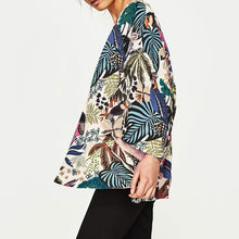 Load image into Gallery viewer, Women Chiffon Beach Kimono Cardigan Bird Leaves Print Open Front Holiday Loose Thin Blouse Beachwear Cover Up