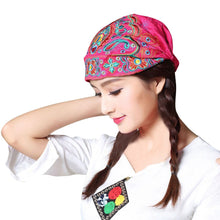 Load image into Gallery viewer, Women Mexican Style Ethnic Vintage Embroidery Flowers Bandanas Red Print Hat