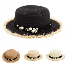 Load image into Gallery viewer, Women's Daisy Flower Rhinestone Inlaid Flat Top Hat Korean Style Spring Summer Straw Hat Beach Sports Hat