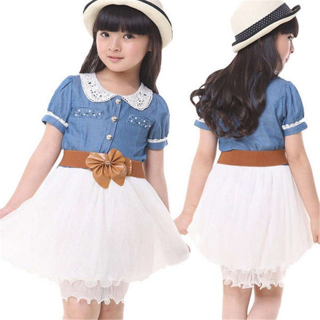 baby Girls Kids Teenager Princess Denim Tulle dress Stitching Bow Belt Dress