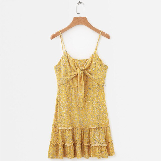 Women Summer Yellow Floral Print Causal Beach Dress Frill Trim Tie Up Spaghetti Strap Mini Dress