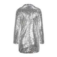 Load image into Gallery viewer, Silver Sequined Coats Turn-down Collar Long Sleeve Outwears Cardigan Jackets