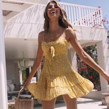 Load image into Gallery viewer, Women Summer Yellow Floral Print Causal Beach Dress Frill Trim Tie Up Spaghetti Strap Mini Dress
