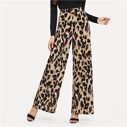 Multicolor Modern Lady Casual Leopard Print Wide Leg Mid Waist Loose Pants Autumn Office Lady Workwear Women Trousers