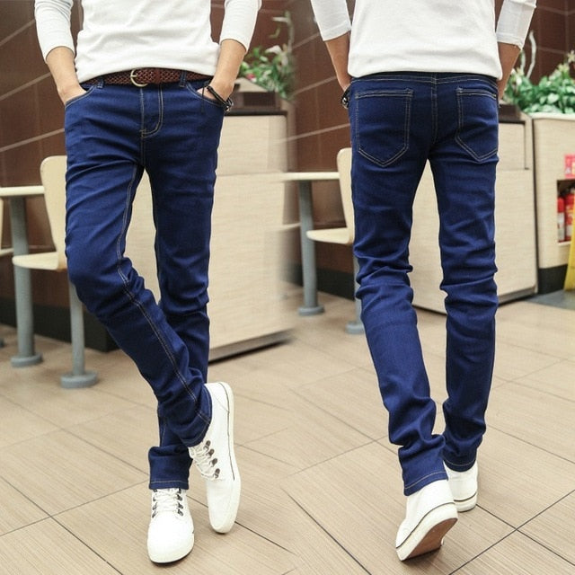 Men's Harem Jeans Fashion Men Washed Feet Shinny Denim Pants Hip Hop Sportswear Elastic Waist Pants