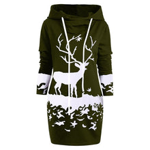 Load image into Gallery viewer, Christmas Hooded Long Sleeve Printed Casual Sweater Dress