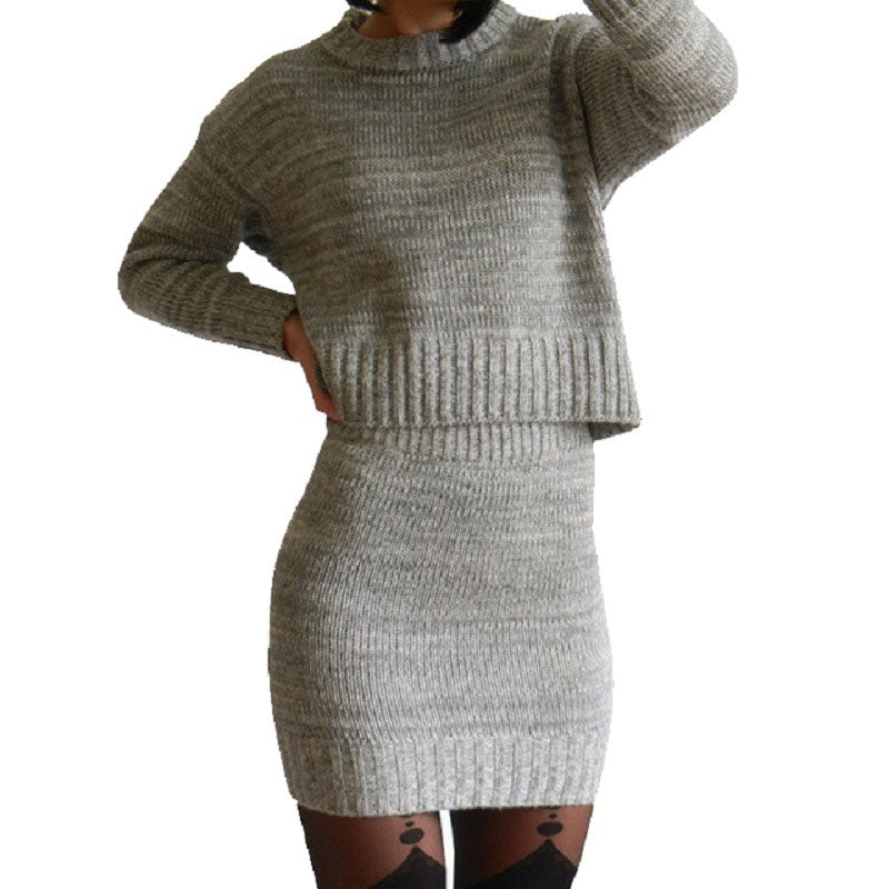 Winter 2 Pieces Sweater Dress Set Women Long Sleeve Office Wear Casual Gray Pullover Knitted Dresses Clothing Suit