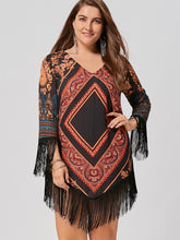 Load image into Gallery viewer, Plus Size Tribal Printed Chiffon Tassel Dress