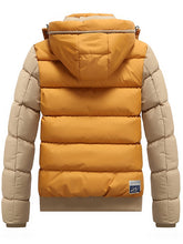 Load image into Gallery viewer, Color Block Puffer Jacket with Detachable Hood