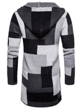Load image into Gallery viewer, Color Block Collarless Hooded Longline Cardigan