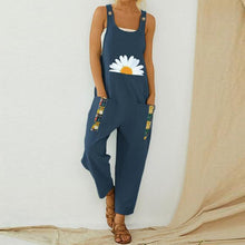 Load image into Gallery viewer, Women Print Cotton Linen Retro Jumpsuit 2020 Summer Elegant Button Strappy Backless Bodysuit Sexy Pocket Loose Trousers Romper