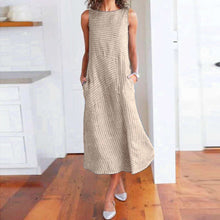 Load image into Gallery viewer, Casual Maxi Dress Sleeveless Linen Women Long Summer Dress Striped Cotton Baggy