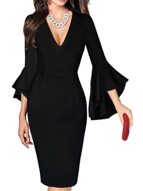 Business Dress Womens Sexy Deep V-neck Flare Bell Long Sleeves Casual Party Dress Office Lady