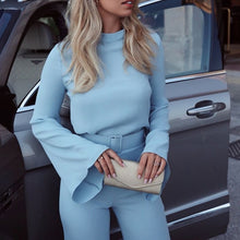 Load image into Gallery viewer, Spring Women Fashion Elegant Office Workwear Casual Jumpsuits High Neck Bell Sleeve Wide Leg Romper With Belt