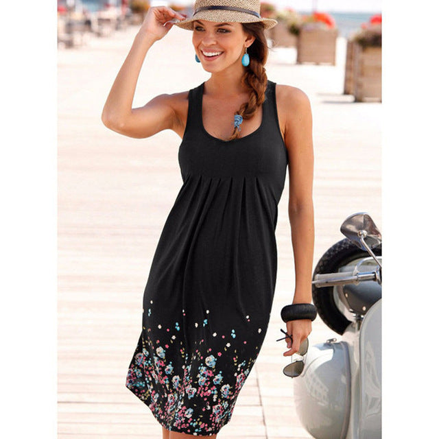 Women Sleeveless Summer Ladies Casual Black Plus Size Loose Dress Boho Beach Dress