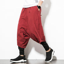 Load image into Gallery viewer, Men's Wide Crotch Harem Pants Loose Large Cropped Trousers Wide legged Bloomers Chinese Style Flaxen Baggy