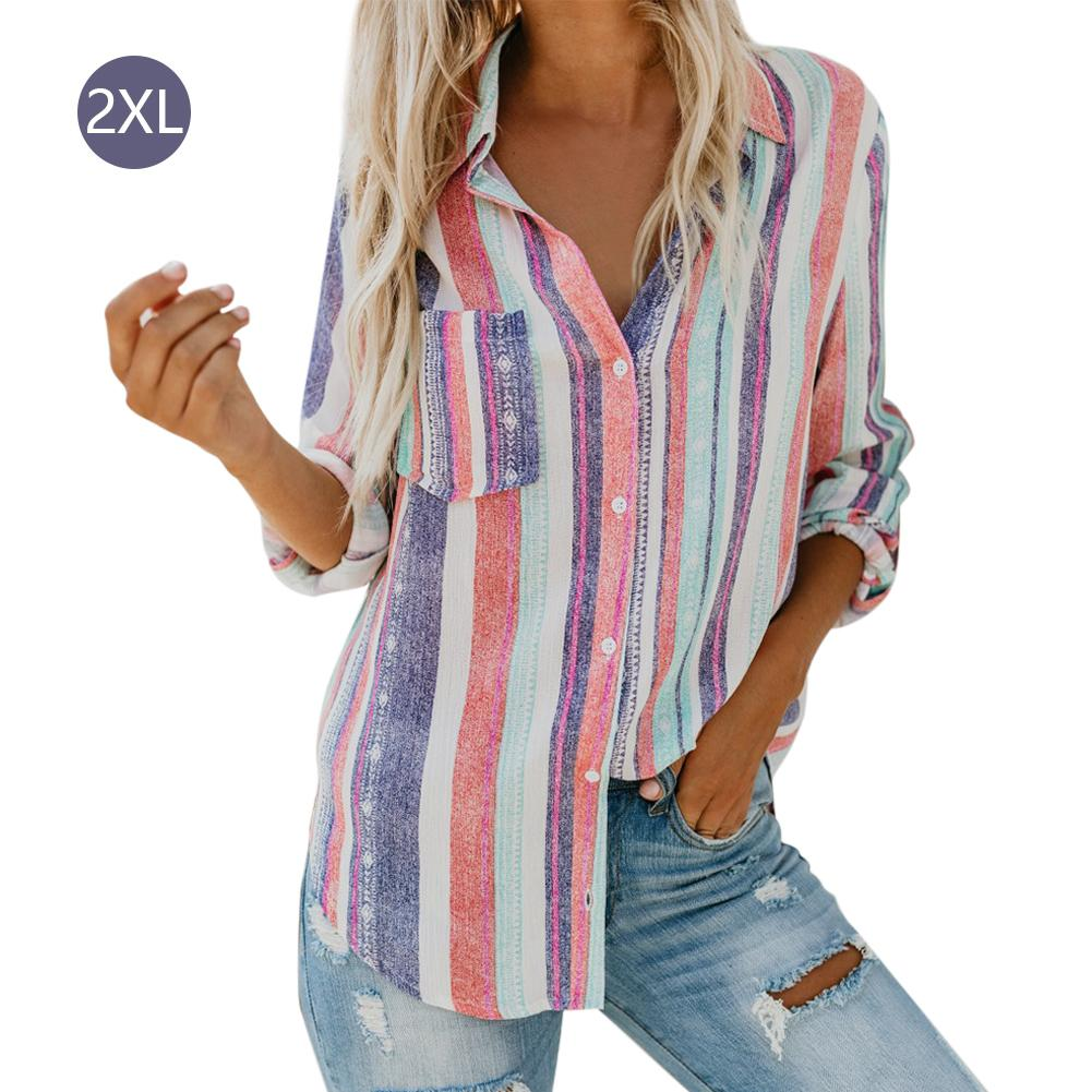 Shirt Autumn Winter Fashionable Casual Multicolor Striped Button-up Cuffed Sleeve Loose Shirt Womens Tops And Blouses