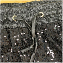 Load image into Gallery viewer, Sexy Sequin Mid Waist Pencil Pants For Women Drawstring Elastic PU Leather Patchwork Shiny Black Glitter Ankle Trouser Styles