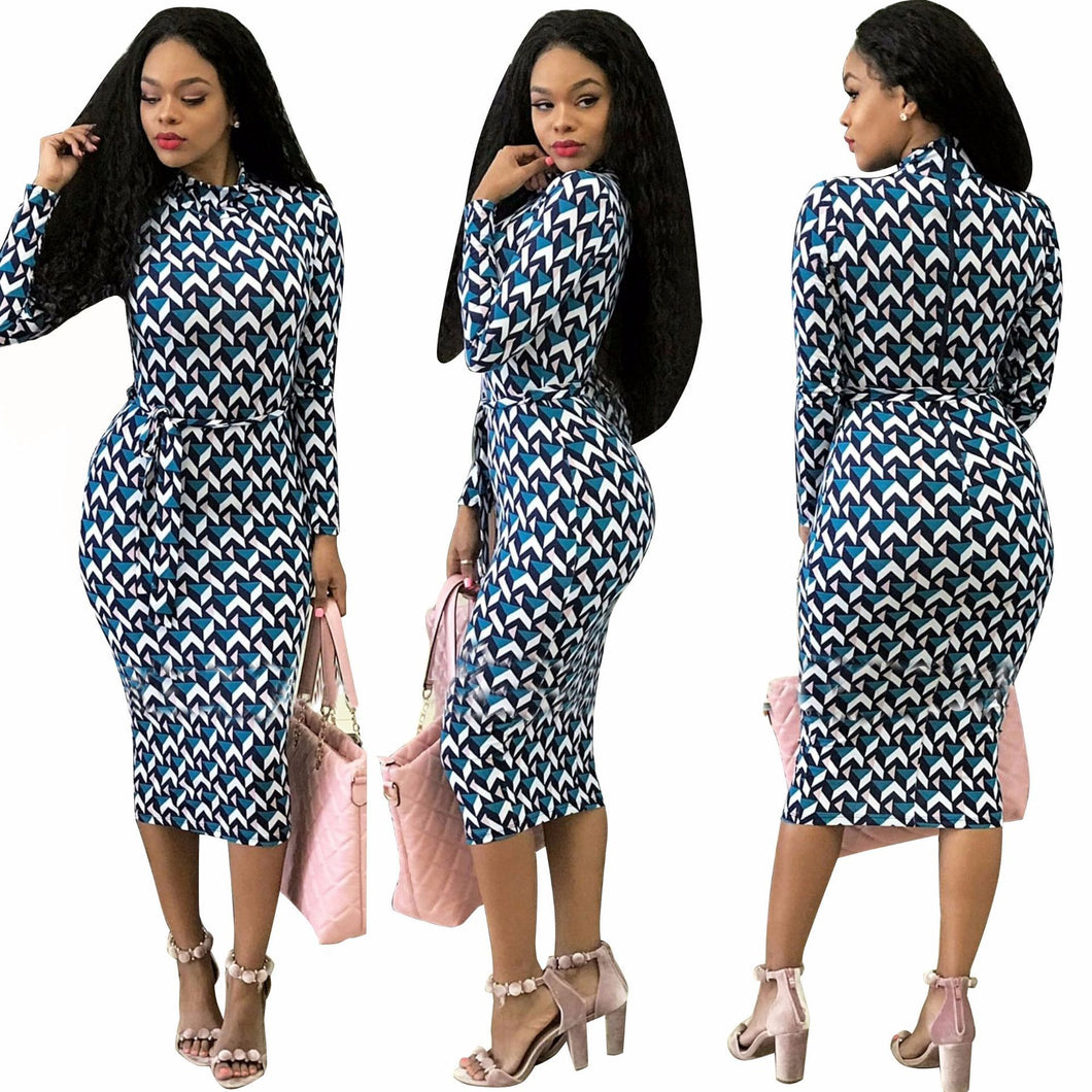 European Tight sexy digital printing Dress