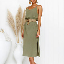 Load image into Gallery viewer, Bohemian spaghetti strap women midi dress Beach style plus size v-neck summer sundress Elegant casual female dress
