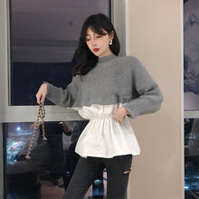 Load image into Gallery viewer, Womens Patchwork Sweater Shirts Autumn Knit Fake Two Pieces O-neck Long Sleeve Japan Woman Sweaters