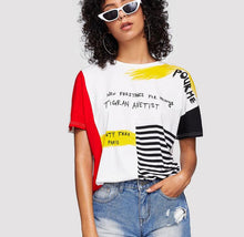 Load image into Gallery viewer, Letter Print Striped Brush Tee Summer Tees Women Chic Round Neck Short Sleeve T Shirt