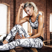 Load image into Gallery viewer, Fitness Suit Floral Printed Yoga Suit Women Yoga Set Splice Running Sports Suit Vintage Sports Clothing Gym Tracksuit