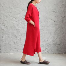 Load image into Gallery viewer, Autumn Winter dress loose long sleeve cotton linen dress,Long Dress