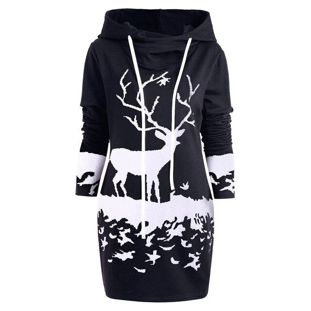 Christmas Hooded Long Sleeve Printed Casual Sweater Dress