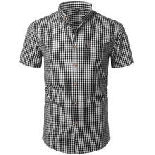 Load image into Gallery viewer, Small Plaid Shirt Men Summer Short Sleeve Cotton Mens Dress Shirts Casual Button Down Men's Shirt