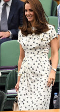 Load image into Gallery viewer, Kate Middleton Princess Vintage Print Dress Fashion O-Neck Short Sleeve Pleated Dresses