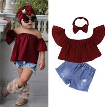 Load image into Gallery viewer, Children Sets for Girls Girls Suits for Children Girls T-shirt + Pants + Headband 3pcs. Suit