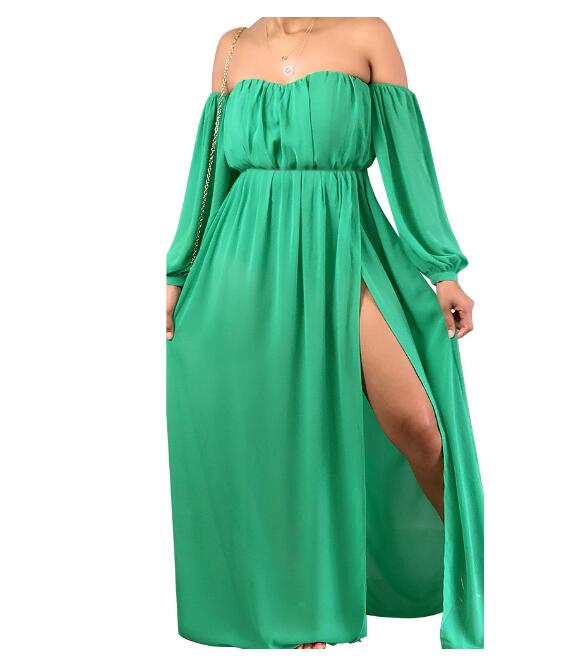 Boho Summer Maxi Dress Women Off Shoulder Long Sleeve White Chiffon Beach Dress Sexy High Split Elegant Long Party Dresses
