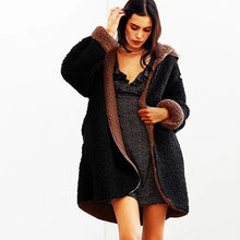 Load image into Gallery viewer, Warm Bomber Reversible Soft Fleece Hooded Lamb Fur Jacket Double Sides lambswool Coat Vintage hooded Parka Outwear Coats
