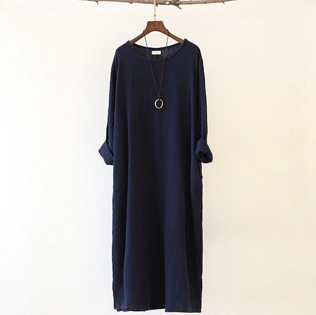 Autumn Winter dress loose long sleeve cotton linen dress,Long Dress