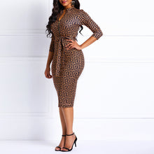 Load image into Gallery viewer, Women Bodycon Dresses Office Zipper Elegant Sexy Brown V Neck High Waist Geometric Print Female Belt Stylish Party Club Dress