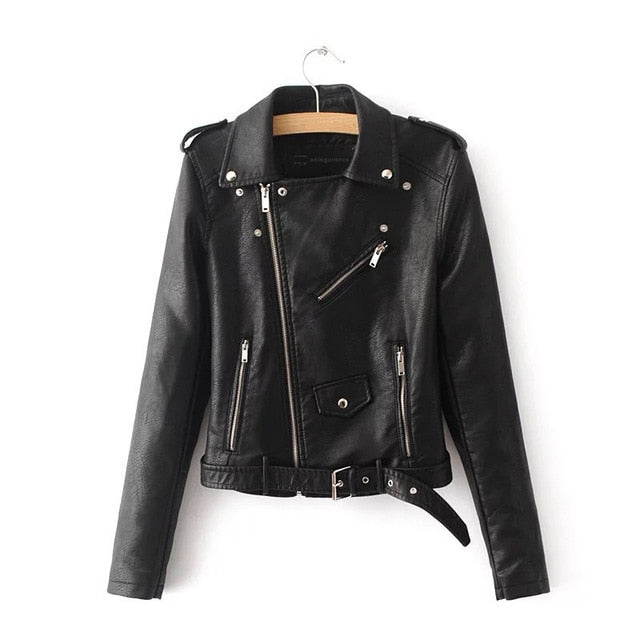 Faux Soft Leather Jacket Women Fashion Zipper Motorcycle PU Leather Jacket Ladies Basic Street Coat