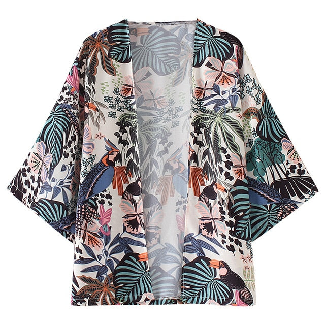 Women Chiffon Beach Kimono Cardigan Bird Leaves Print Open Front Holiday Loose Thin Blouse Beachwear Cover Up
