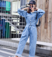 Load image into Gallery viewer, Fashion Streetwear Style Denim Overalls Autumn Long Sleeve Bodysuit High Waist Jeans Bodycon Romper Wide Leg Jumpsuit