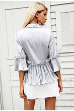 Load image into Gallery viewer, v neck ruffles peplum top Elegent pleated white blouse shirt office Satin flare long sleeve ladies women blouses