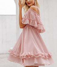 Load image into Gallery viewer, Off Shoulder Strap Chiffon Summer Dresses Women Ruffle Pleated Short Dress