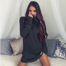 Load image into Gallery viewer, Women Winter Dress Knitted Dress Turtleneck Long Sleeve Slim Loose Dress Sweaters Pullovers Plus Size Streetwear Clothing