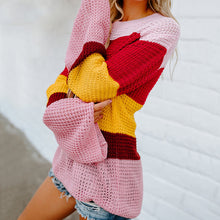Load image into Gallery viewer, Autumn Winter Women Sweaters Knitted Rainbow Color Patchwork Loose Pullovers Long Flare Sleeve Round Neck Sweater