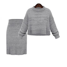 Load image into Gallery viewer, Winter 2 Pieces Sweater Dress Set Women Long Sleeve Office Wear Casual Gray Pullover Knitted Dresses Clothing Suit