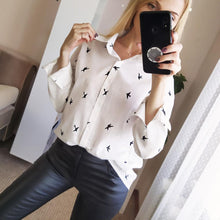 Load image into Gallery viewer, Women's Birds Print Shirts 35% Cotton Long Sleeve Female Tops Spring Summer Loose Casual Office Ladies Shirt Plus Size 5XL