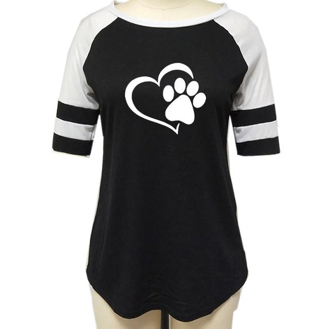 Fashion Love Dog Paw Print Top Shirt Women Plus Size Raglan Pink T-shirt  Tumblr Cropped Cute