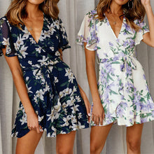 Load image into Gallery viewer, Womens Fit and Flare Print V-Neck Dress Holiday Summer Floral Print Short Sleeve Party Mini Dress
