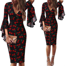 Load image into Gallery viewer, Business Dress Womens Sexy Deep V-neck Flare Bell Long Sleeves Casual Party Dress Office Lady
