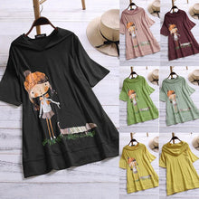 Load image into Gallery viewer, Plus Size Summer Women Hoodie Korean Cute Cartoon Print Absorb Sweat Breathable Cotton Tops O Neck Short Sleeve Hoodies 6 Color